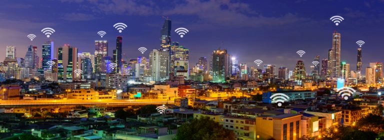 wifi signals over a city skyline