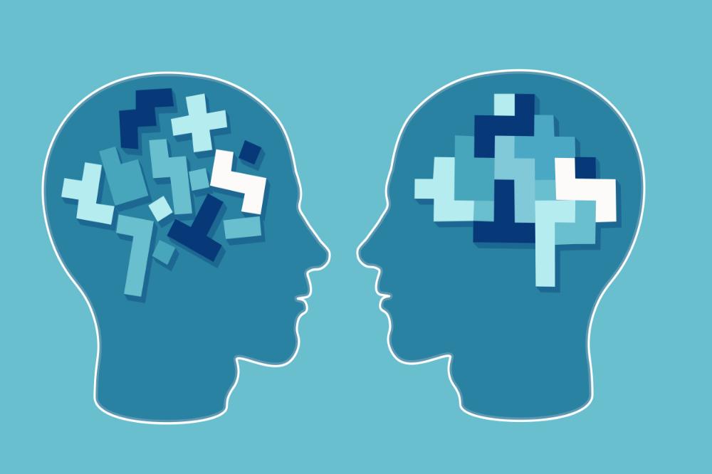 Illustratie van twee hoofden die een probleem uitwerken